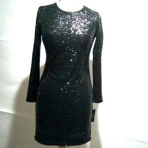 Maia Women's 2 Black Sequine L/S shift Dress